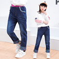 2017 Spring and Autumn Fashion Classic Children's Pure Cotton Jeans Girls Vibrating Embroidered Embroidered Bunny Slim Pants