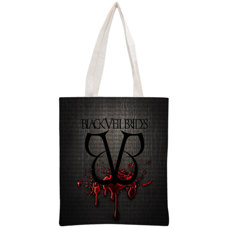 Custom Black Veil Brides Tote Bag Reusable Handbag Women Shoulder Pouch Foldable Canvas Shopping Bags 30x35cm Two Sides