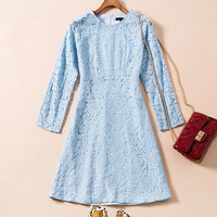Women S Brand High Quality Vintage Formal Lace Slim Light Blue Fashion Women Lady Party Business