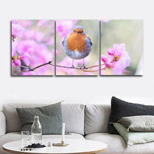 Laeacco Canvas Calligraphy Painting 3 Panel Bird and Flower Posters Prints Wall Art Home Decor Picture Living Room Decoration