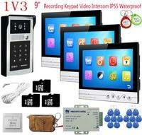 Запись видеозвонок с монитором 9 цвет 3 единицы Клавиатура RFID камера домофон + дверной звонок с дистанционным управлением домофон