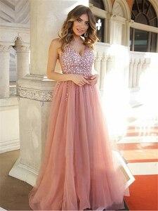 Image 2 - Женское вечернее платье трапеция, розовое длинное платье с v образным вырезом, стразами и открытой спиной, для выпускного вечера