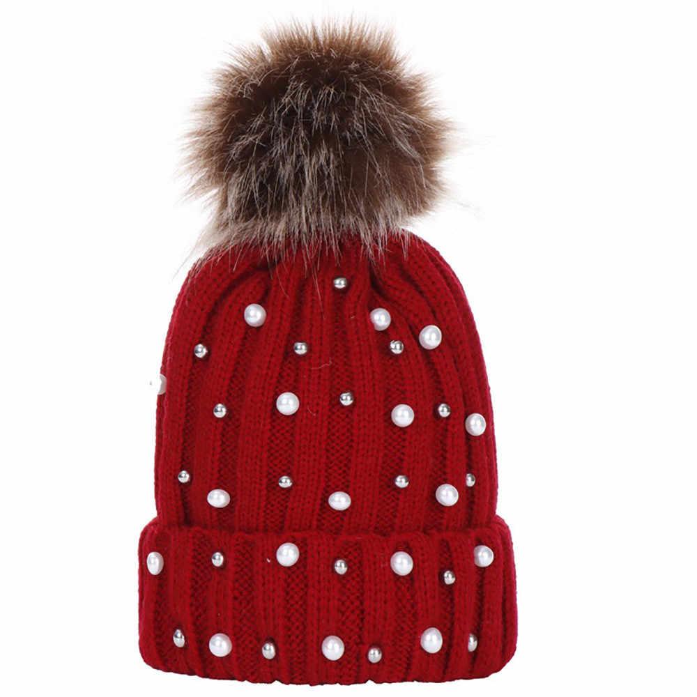 fcc529ac44ccd Women s Winter Beanies Hat Knit Beanie Hat Pompom Female Rhinestone  Skullies Hat Cap bonnet gorros