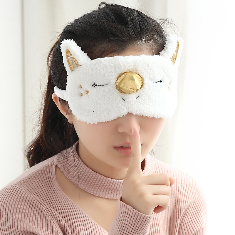 1PCS Mayitr Unicorn Eye Mask Cartoon Sleeping Mask Plush Eye Shade Cover Blindfold Eyeshade Suitable For Travel Home crown plush eye mask