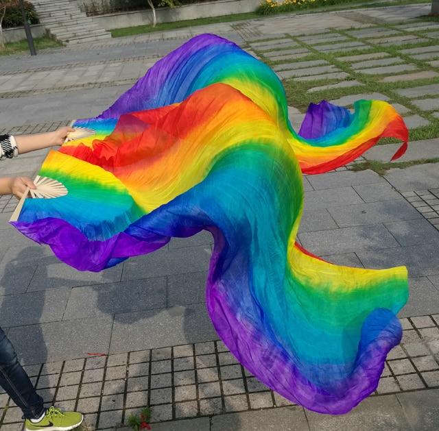 Belly Dance Veil Fan Streamer Real Silk Oriental Dancing Fan Veils Props Vertical Stripes Rainbow 180cm