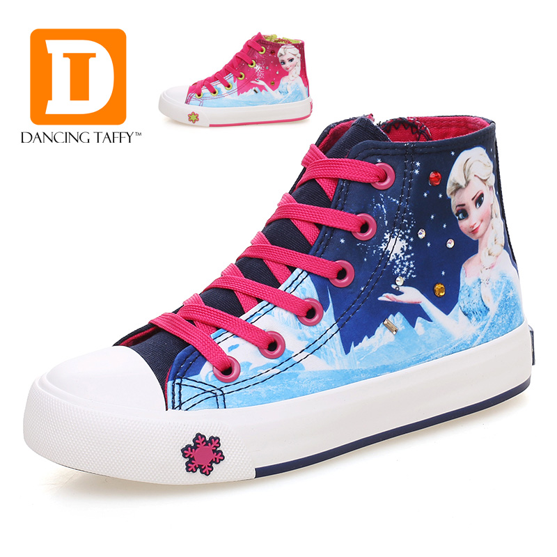 Prinsesse Piger Sko For Kids Fashion Elsa Anna Børns Sko 2019 Ny Ice Snow Queen Casual Denim Single Canvas Børne Sneakers