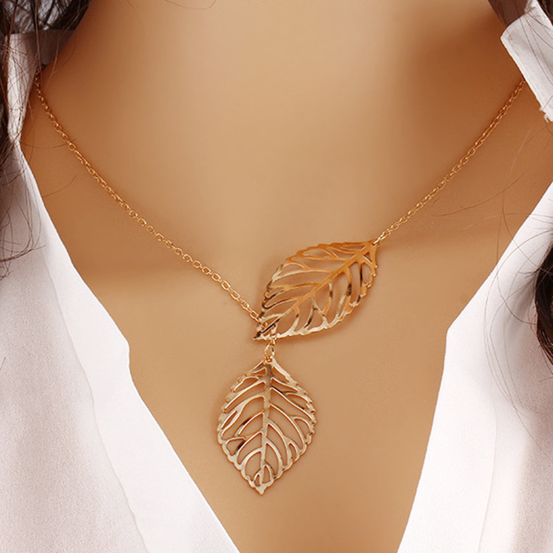NK607 New Punk Fashion Minimalist Two Leaves Pendant Clavicle Necklaces For Women Jewelry Gift Tassel Summer