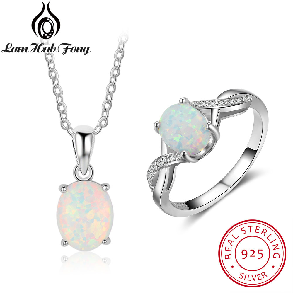 Oval Created White Fire Opal Ring Necklace Accessories For Women Real Pure 925 Sterling Silver Bridal Jewelry Sets(Lam Hub Fong) eiolzj white oval fire opal stone 925 sterling silver clip earrings for women bridal fashion jewelry free gift box three colors