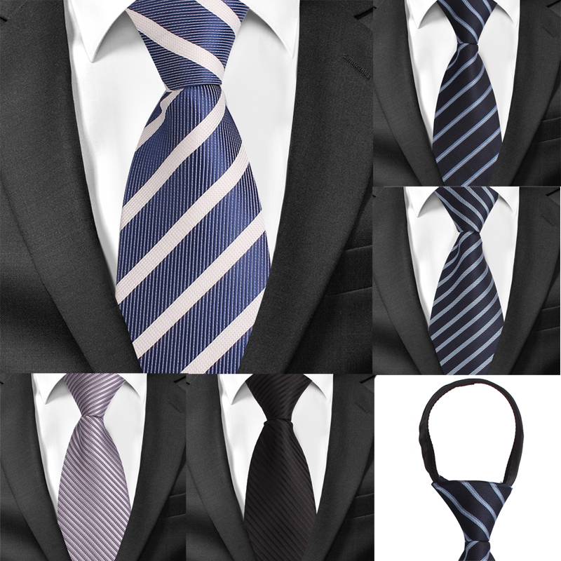 8cm Width Pre-tied Neck Tie Mens Classic Zipper Ties For Men Jacquard Bridegroom Party Necktie Cravate Black Grey Suit Neckties
