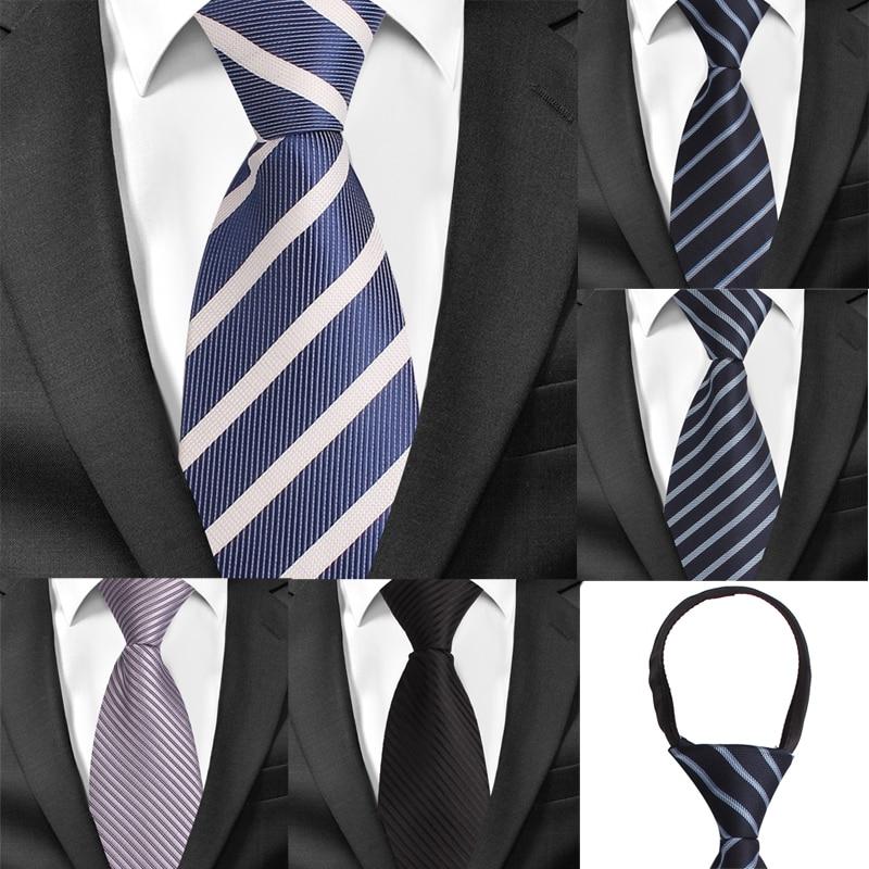 8cm Width Pre-tied Neck Tie Mens Classic Zipper Ties For Men Jacquard Bridegroom Party Necktie Cravate Black Grey Suit Neckties