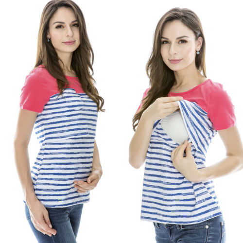 2018 Emmababy 2in1 Womens Maternity & Nursing Stripe Top Breastfeeding Size 8 10 12 14 16 18