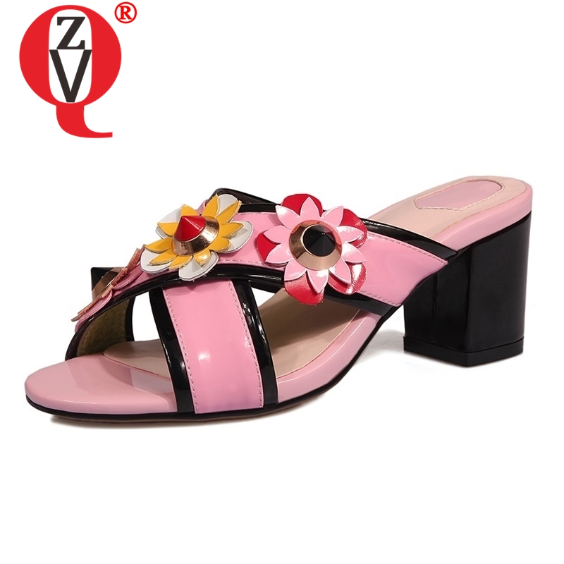 ZVQ summer new fashion sexy open toe flower shoes woman high square heels genuine leather woman