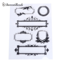 DoreenBeads Silicone Clear Stamps Transparent Vintage European Style Window DIY Scrapbooking Tool Approx 9.2x 3.2cm-3.4cm,1 Set