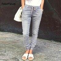 Low Waist Jeans Women Plus Size Casual New Elastic Waist Slim Stretched Regular Jeans Pencil Pants TSS75