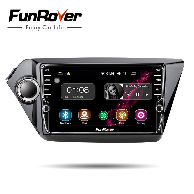 Funrover IPS Android8.0 Car dvd player for Kia k2 RIO 2010 2011 2012 2013 2014 2015 gps navigation Car Radio video tape recorder