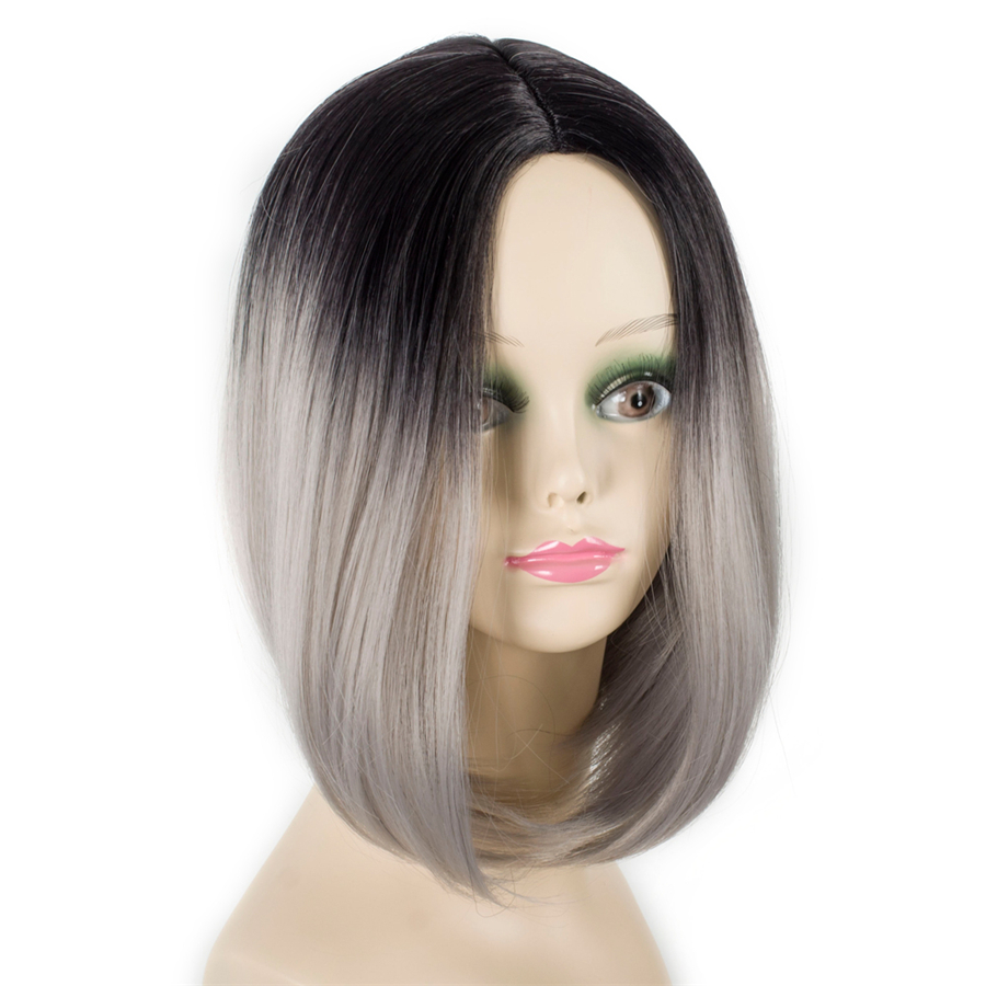 ELEGANT MUSES 10inch Synthetic Ombre Short Bob Wigs Cosplay Hair Wigs For Black Women High Density Wig Heat Resistant