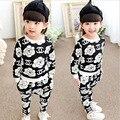 2015 autumn and spring children's clothing set kid girls big flower suit children fashion sports suit