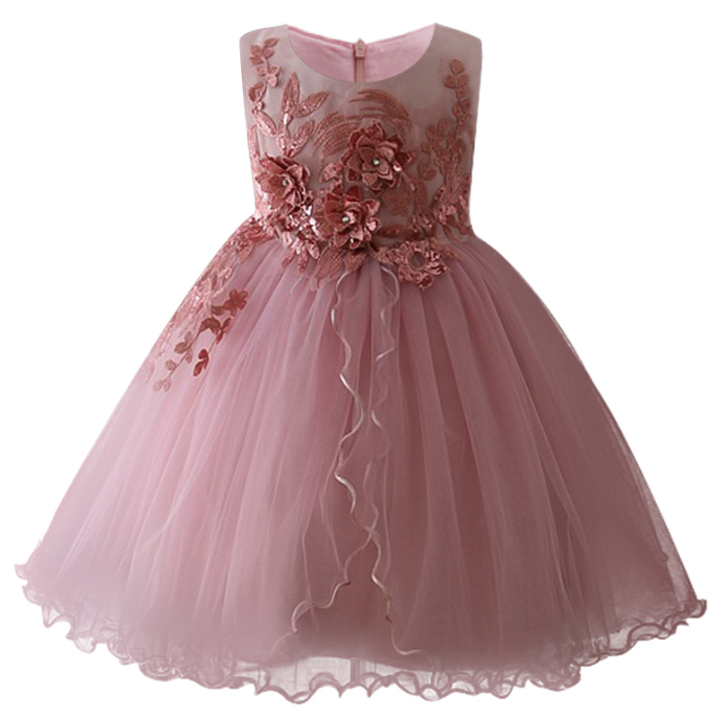 Girls   New Birthday Romantic   Dress   Children Baby Sweet   Flower     Girl     Dress   Applique Princess Puffy   Dress   Childrens Wear