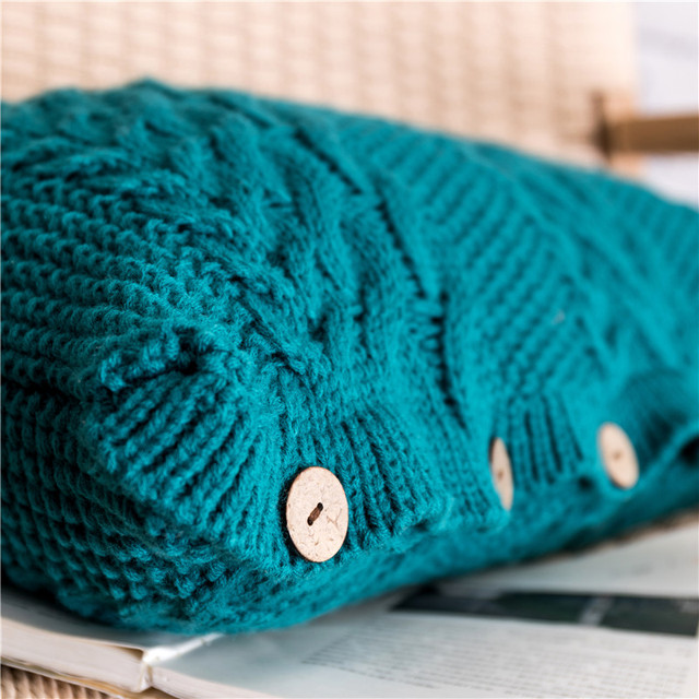 Teal Rectangle Knit Cushion  6