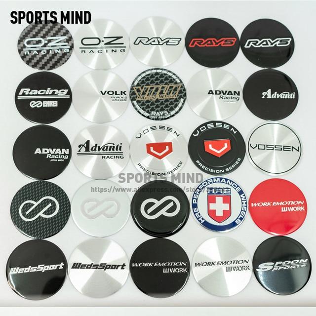 4 unidades/lote de pegatinas con emblema para tapacubos de coche, 45MM, para RACKING, RAYS, VOLK, ADVAN, VOSSEN, ENKEI, WedsSport, Work Emotion HRE