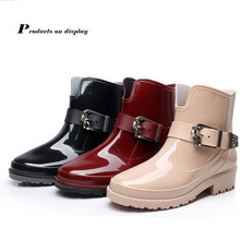 цены Lizeruee New Design Rain Boots Waterproof Flat With Shoes Woman Rain Woman Water Rubber Ankle Boots Buckle Strap Botas WS270