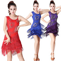 Red Women Latin Dance Dress Fringe Dance Dress With Embroidery Pattern Ballroom Dance Rumba Cha Cha Dresses For Women