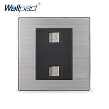 2017 Hot Sale Computer & Telephone Socket Wallpad Luxury Wall Switch Network Outlet Black / Champagne AC 110-250V