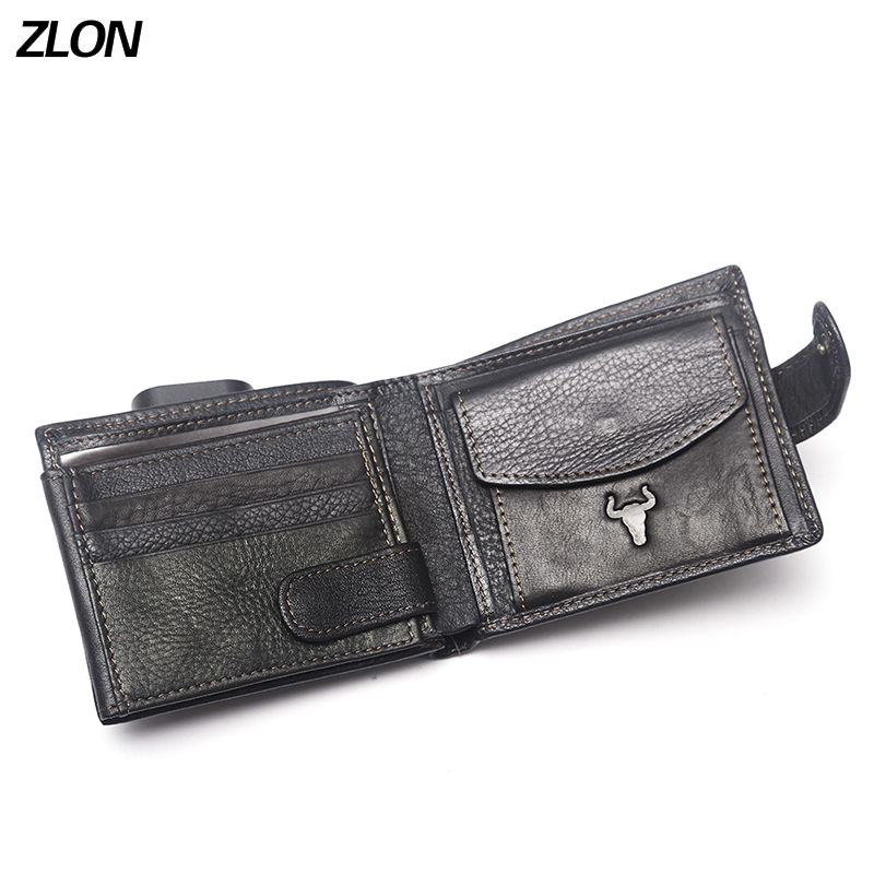 ZLON Men's Genuine Leather Casual Credit Card Case ID Cash Coin Holder Hasp Zipper Wallet Organizer Wallet Trifold Wallet Q418
