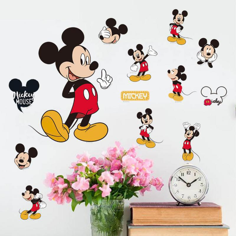 Most popular Christmas gift Cartoon Mickey Minnie Mouse Childrens Home Stickers On The Wall Stickers Most popular