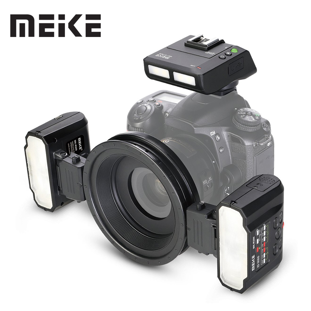 Meike MK-MT24 Macro Twin Lite <font><b>Flash</b></font> for Nikon Digital SLR Camera D5100 D5200 d5300 D700 D800 D810 D80 D90 D600 D610 D3100 D3200