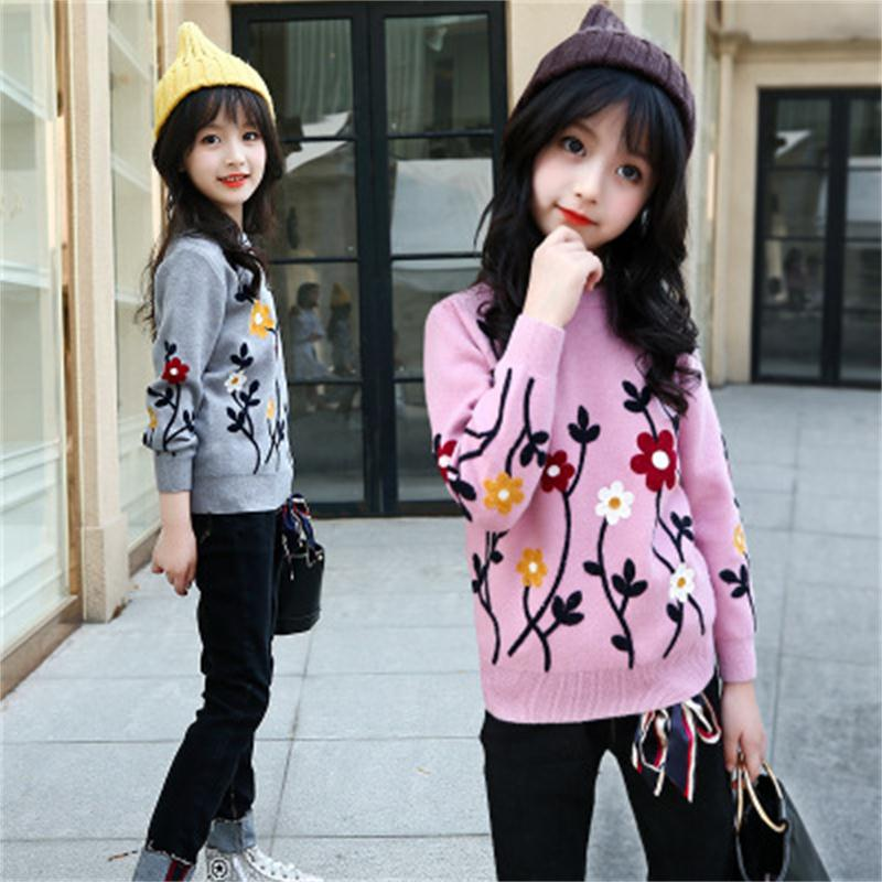 2018 winter fashion embroidered sweater girls big children's bottoming shirt sweater tide jacquard thick sweater pullover