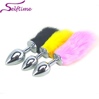 4 sizes Metal Anal Butt Plugs + 4 Color Rabbit Tail, Anus Sexy Products For Women & Men, Sex Toys for Couples Game AS028S