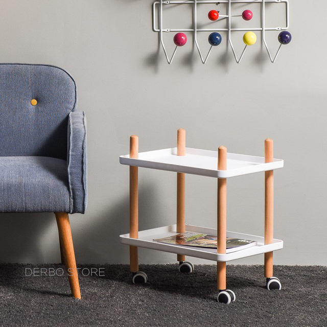 Fashion Por Modern Design Solid Wooden Leg Living Room Trolley Side Table Loft Style Corner