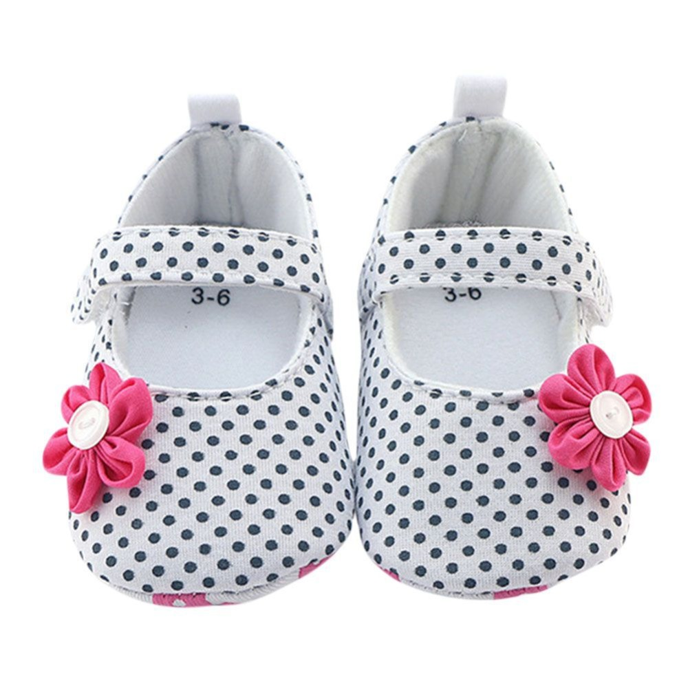 2017 New 3D Flower Decor Infant Girl Shoes Polka Dot Printed Breathable Soft Sole An-Slip Shallow Newborn Baby First Walker J2