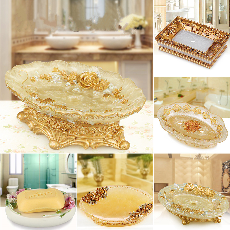 European style resin soap holder fashion soap dish draining rack shower Tray plate toilet bathroom accessories