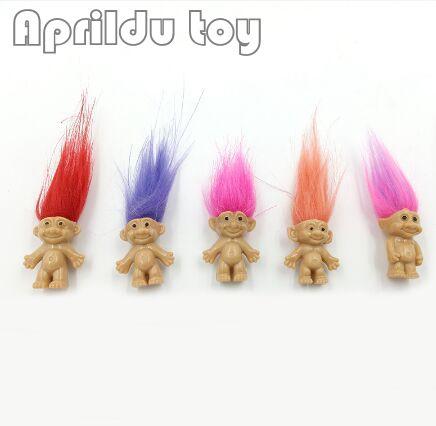 100pcs Hair Troll Family Members Daddy Mummy Baby Boys Girls Dam Anime Trolls Kids Toys For Children Birthday Gift