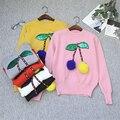 Moda das Mulheres kawaii 3D Cereja Suéter e Pulôver sudaderas Jumpers Malha Cereja puxar femme rosa Bola de Pelúcia unif Camisola