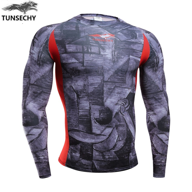 Brand compression round collar long sleeve t shirt fashion for Digital printing for t shirts