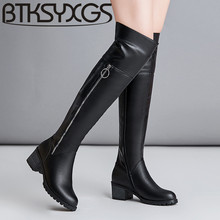 BTKSYXGS 2017 sexy Womens over-the-knee boots 100% genuine leather fashion winter thigh high Martin long boots Women shoes/35-43