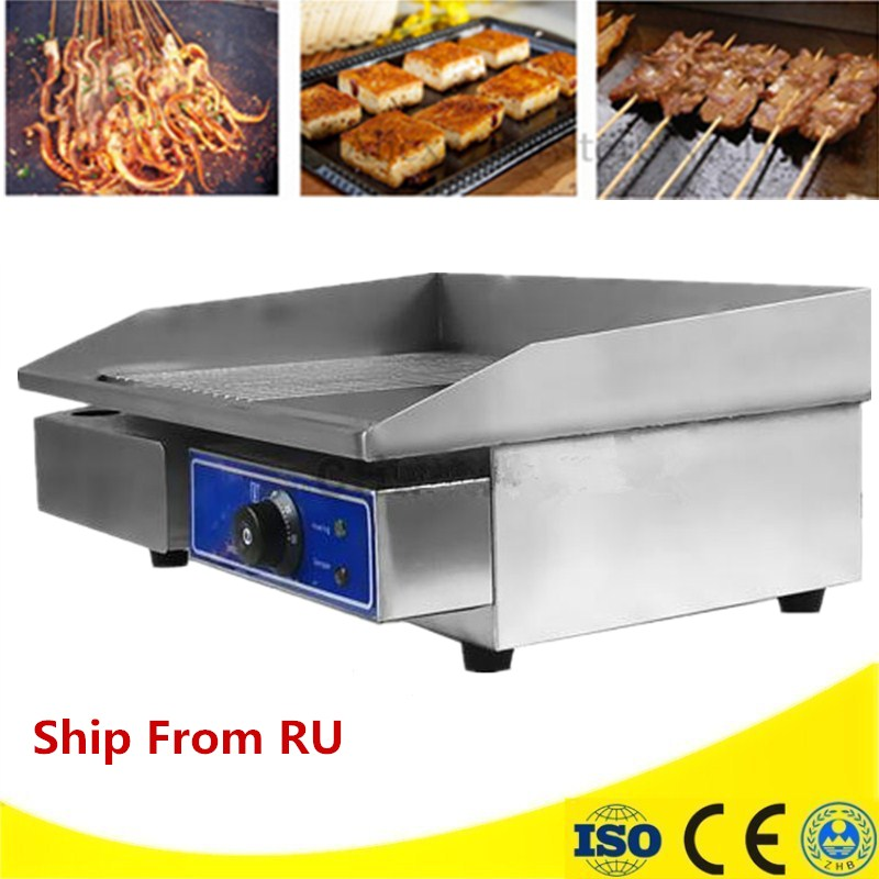 Commercial 220V Flat Electric Griddle Fried Steak Stainless Steel Fry Machine 3000W Hand Grasping Cake Machine Teppanyaki 2017 single pan fried ice cream machine stainless steel fried fry frying ice roll machine ship by air to your home with cover
