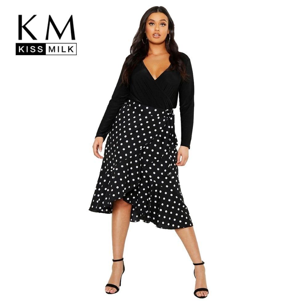 Kissmilk Plus Size Women Clothes Wrap Ruffled Polka Dot Empire Skirt in Skirts from Women 39 s Clothing