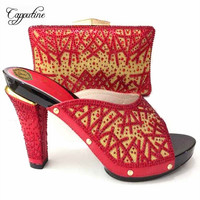 Capputine Latest Italian Woman Shoes And Bags To Match 2018 New Nigerian High Heels Shoes And Purse Set For Wedding 6Colors