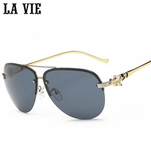 LA VIE Rimless Polarized Sunglasses Mirror Coating Alloy Fram Sun Glasses oculos de sol feminino LVF2378