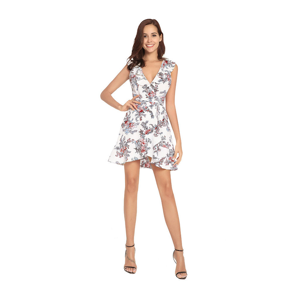 Summer Women Sexy Dress V Neck Floral Printed Strap Ruffles Lace-up Beach Casual Dresses FS99