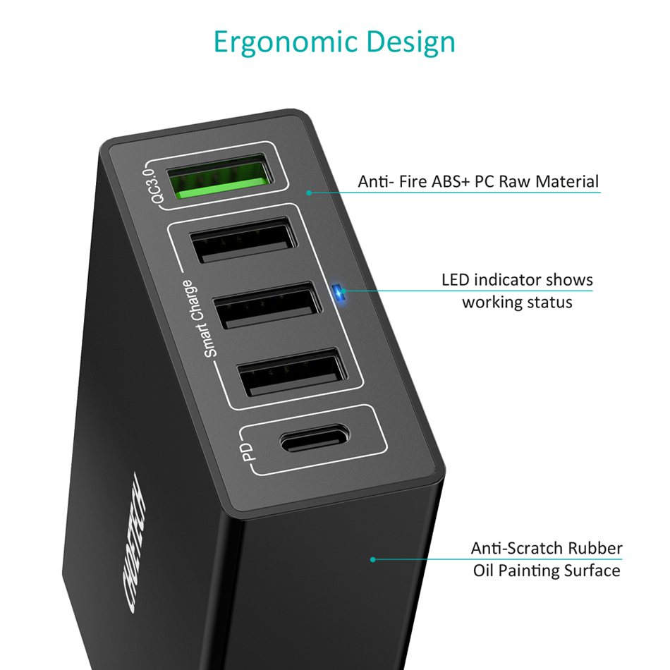 CHOETECH Power Delivery USB-C PD Charger 60W 5-Port With QC3.0 USB Wall Charger For Samsung For Xiaomi USB Charging Station