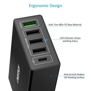 Image 3 - CHOETECH cargador USB de 60W PD de 5 puertos, estación de carga múltiple, con acoplamiento, Universal, para teléfono móvil, pared de escritorio, enchufe europeo y británico