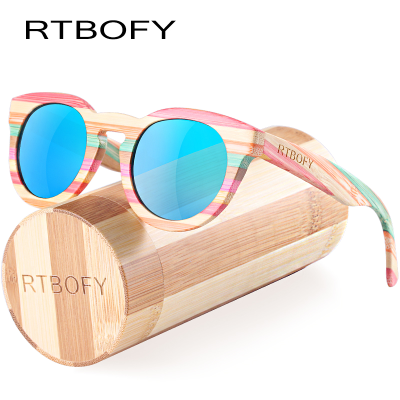 RTBOFY Wood Sunglasses Women Bamboo Frame Eyeglasses Polarized Lenses Glasses with Wood Box UV400 Protection Shades Eyewear rtbofy wood sunglasses for men and women skateboard wood frame shades oval shape glasses