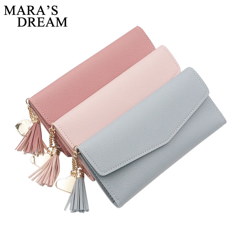 Mara's Dream 2018 New Women Wallet Tassel Heart Long Wallet Large Capacity Zipper Hasp Ladies Bag Purse Money Female Credit Card women wallet long zipper wallet high capacity crocodile grain female card package fashion hand bag change purse