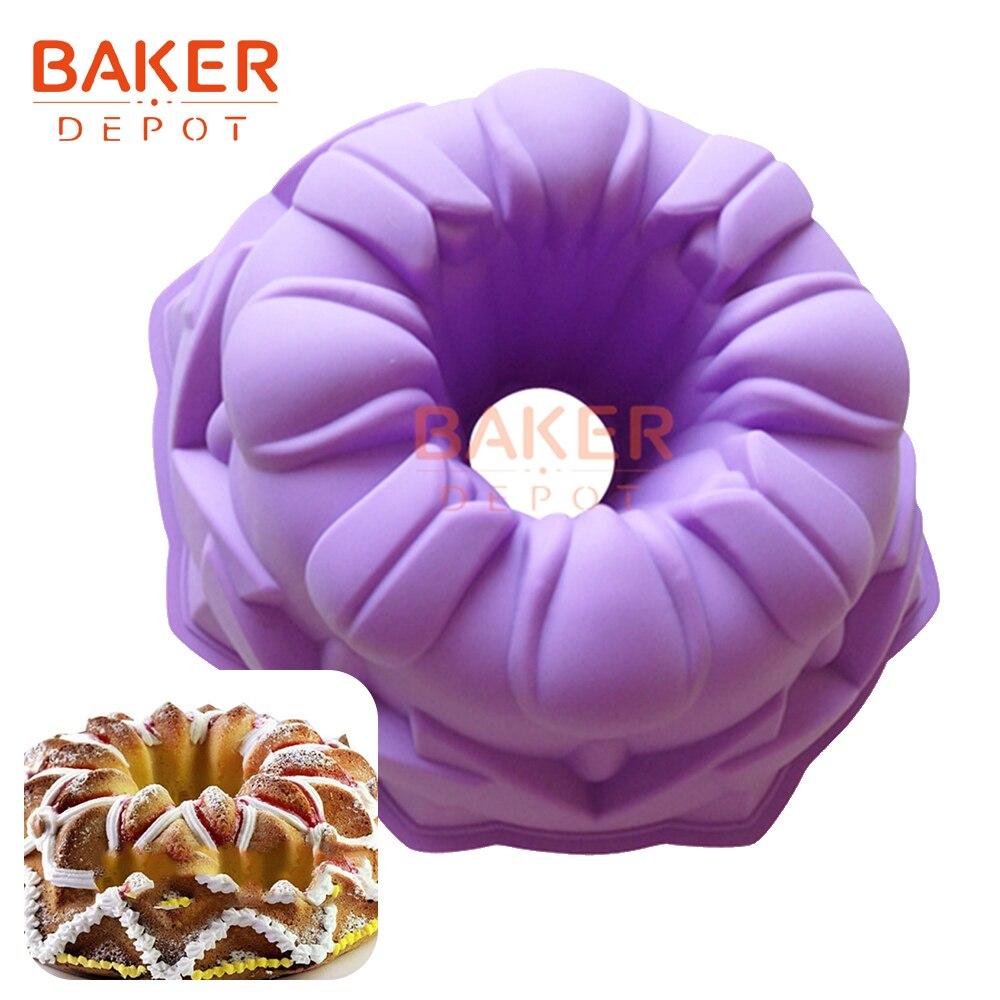 3 차원 튤립 디자인 케이크 금형 실리콘 9 인치 케이크 과자 몰드 대형 실리콘 푸딩 빵 bakeware 베이킹 도구 DIY 크리스마스