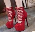 Bombas Tacones Altos extremos correas Cruzadas Hueco, Zapatos del Club Nocturno Sexy Mujer Correa de Tobillo Rojo Negro Fetiche Plataforma Zapatos